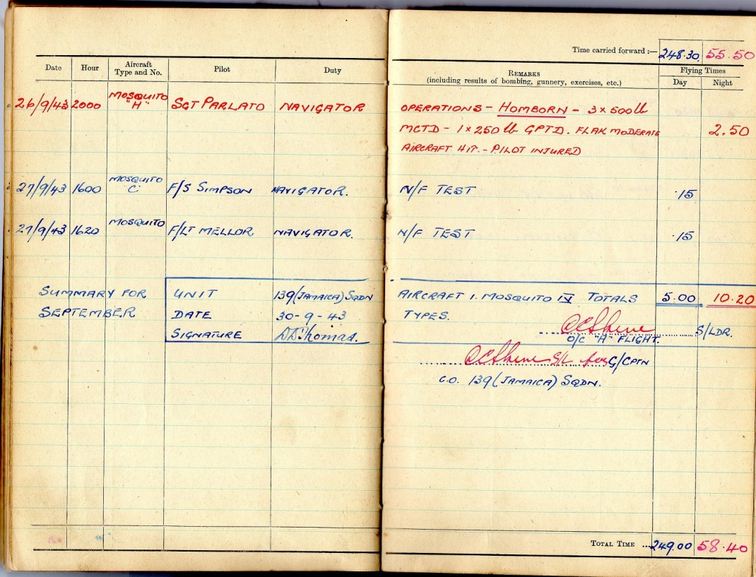 log book sept 1943